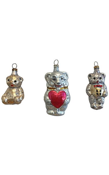 Assorted Glass Bears Set of 3