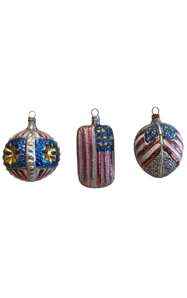 Assorted Glass American Flags Set of 3