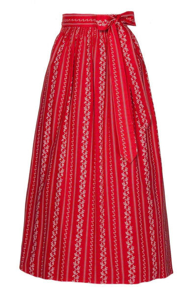 Red colored long dirndl apron