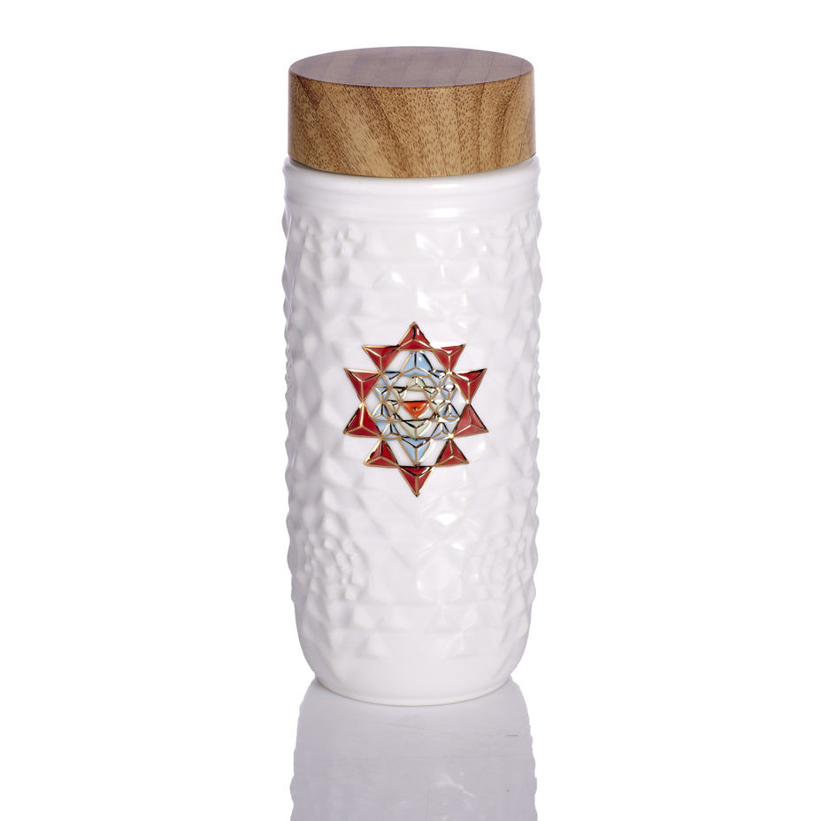 Yantra Mandala Travel Mug Red Symbol / Gold