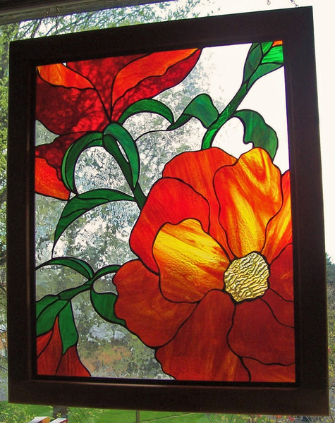 "Poppies, stained glass hanging panel, 27.75"" x 33.75"", framed"