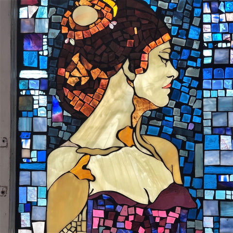 """Rachel"" 22"" x 34"" stained glass mosaic in recycled wood window frame"