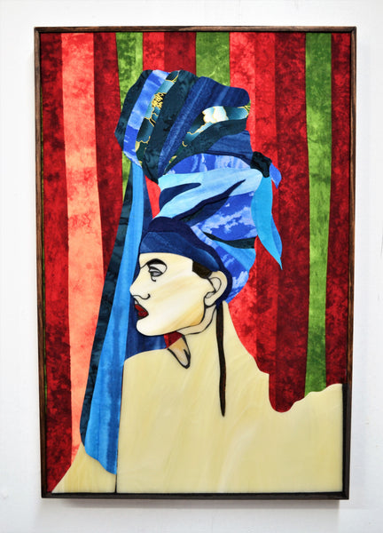 "SOLD ""Kikimora"", stained glass and textile collage on birch wood, 19.5"" x 13"", framed"