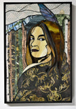 "FREE SHIPPING ""Ancestry"", textile and stained glass mosaic, 18.5"" x 12.5"", framed"