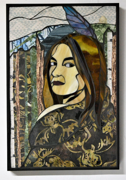 """Ancestry"", textile and stained glass mosaic, 18.5"" x 12.5"", framed"