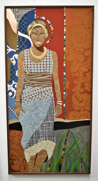 "Mami Wata, textile and glass collage on birch wood, 43.25"" x 22.25"" x 2"", framed"