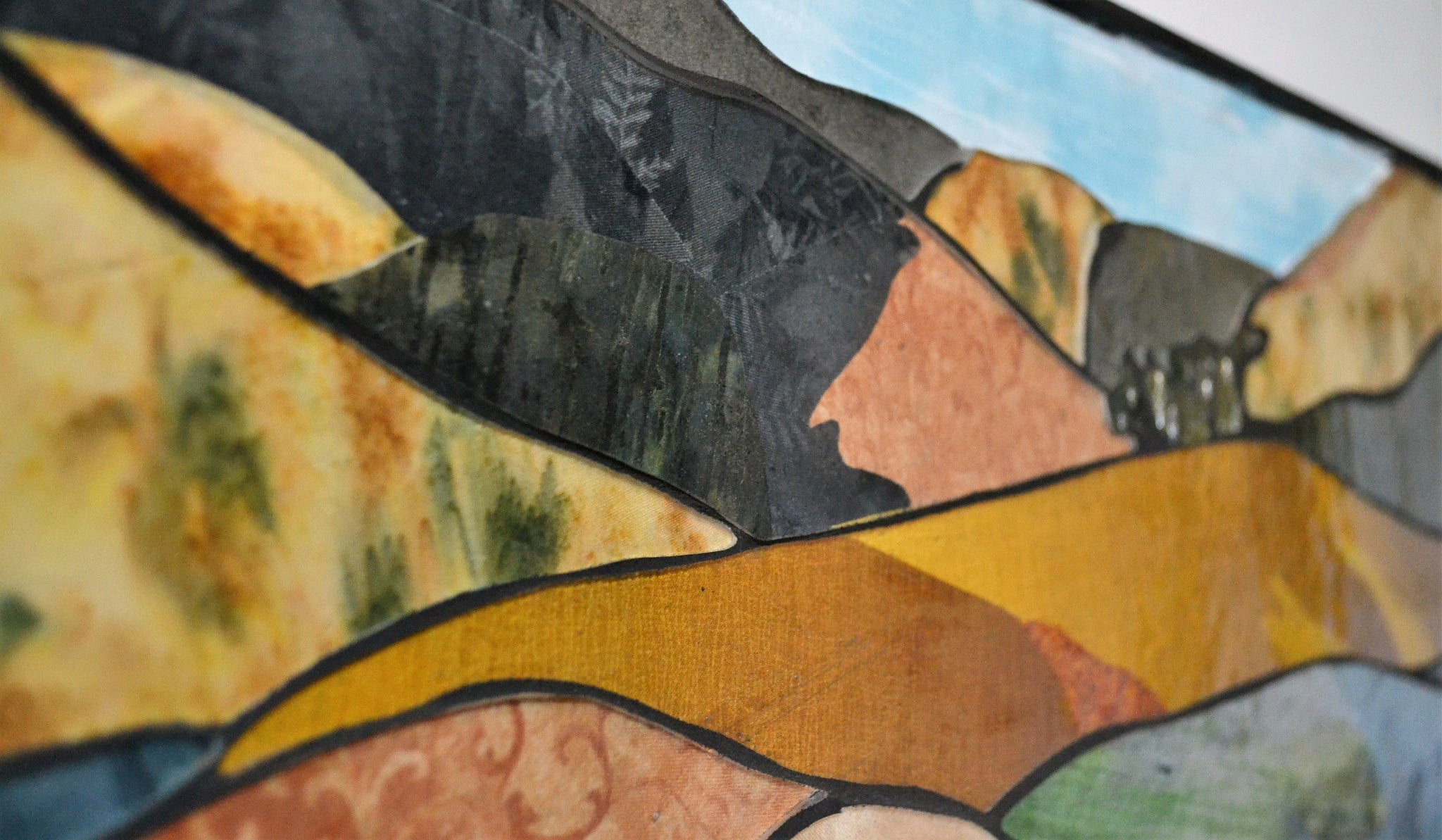"Painted Hills, Stained glass mosaic and textile collage, 20.5"" x 27.5"", framed"
