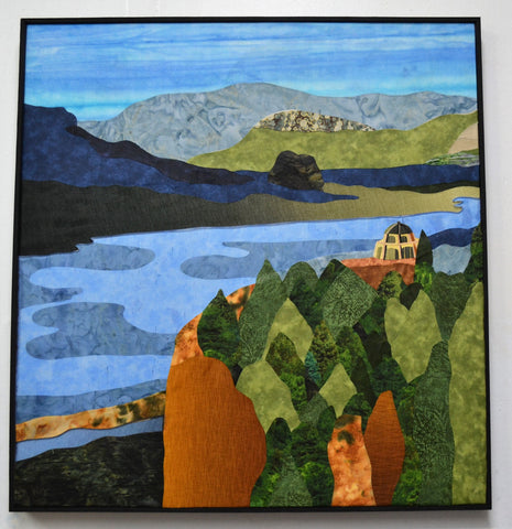 "SOLD ""Columbia River Gorge"", stained glass and textile collage, 23.5"" x 24.5"", framed"