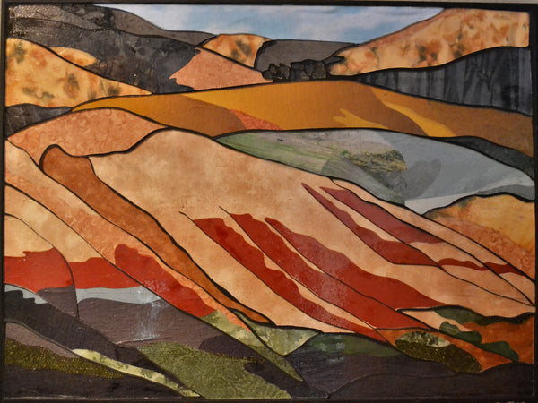 "SOLD ""Painted Hills"", Stained glass mosaic and textile collage, 20.5"" x 27.5"", framed"
