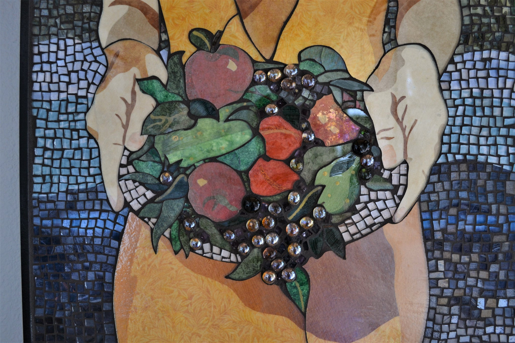 """Abundance"", stained glass and textile mosaic, 43"" x 24"" framed"