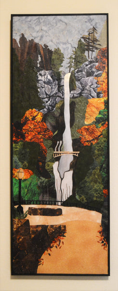"SOLD ""Multnomah Falls"", Glass and textile collage, 12.5"" x 33"", framed"