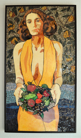 "FREE SHIPPING ""Abundance"", glass and textile mosaic, 43"" x 24"" framed"