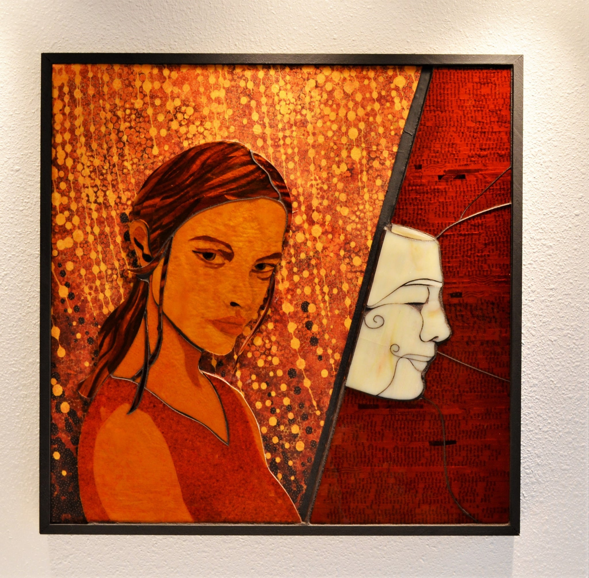 "SOLD ""Invincible Cover Persona"", Stained glass and textile mosaic on wood panel, framed, 25"" x 25"""