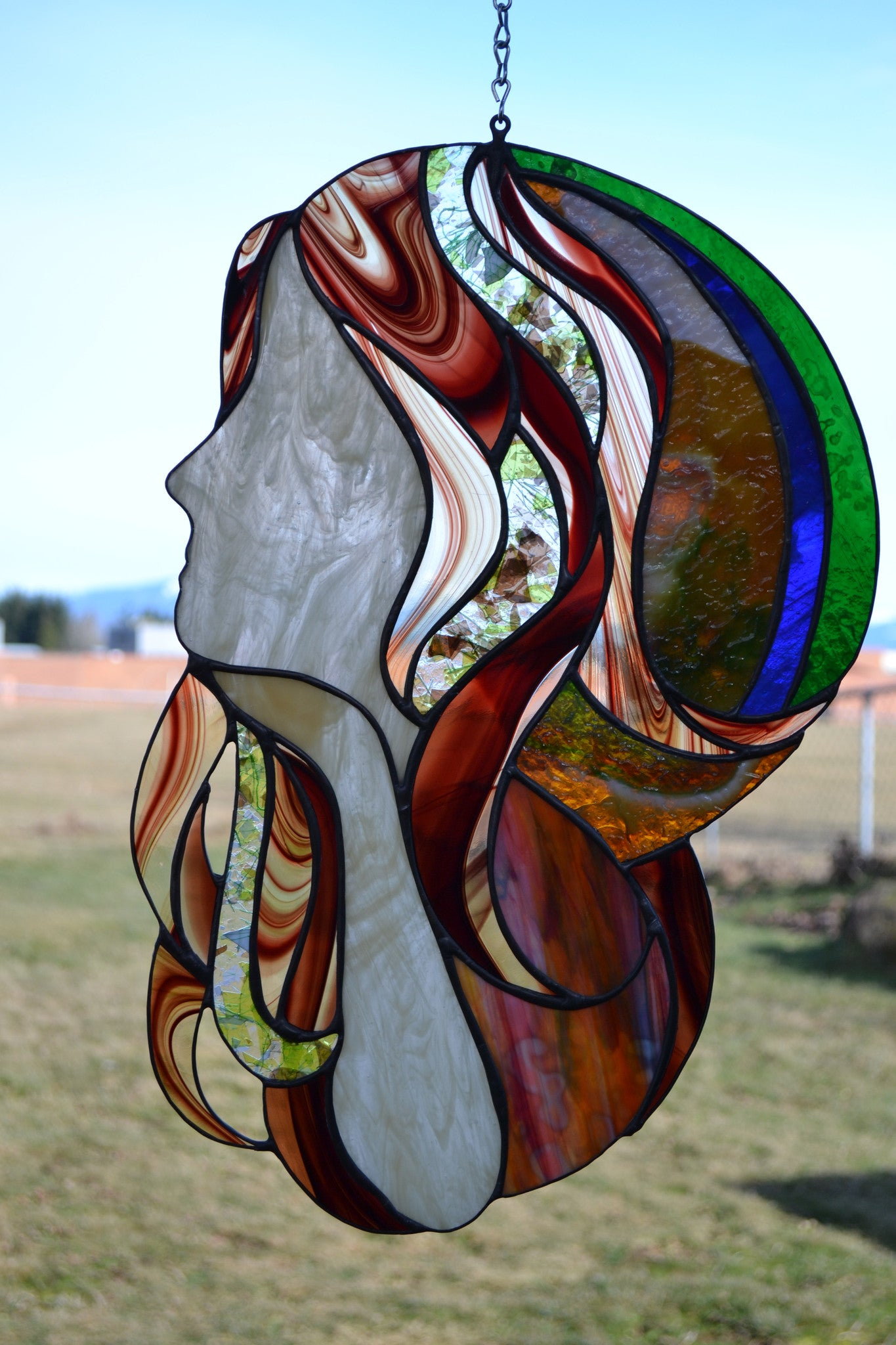 """Far and Away"", stained glass hanging panel, 23"" x 12.5"