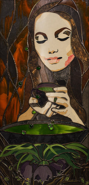 "SOLD ""Circe"", Stained glass and textile collage, framed, 18.5"" x 36.5"", framed"