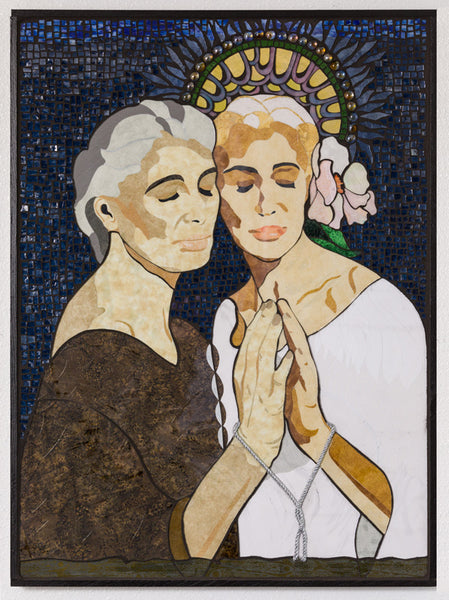 """Thou Art That"" Textile and stained glass mosaic, 34"" x 25"" framed"