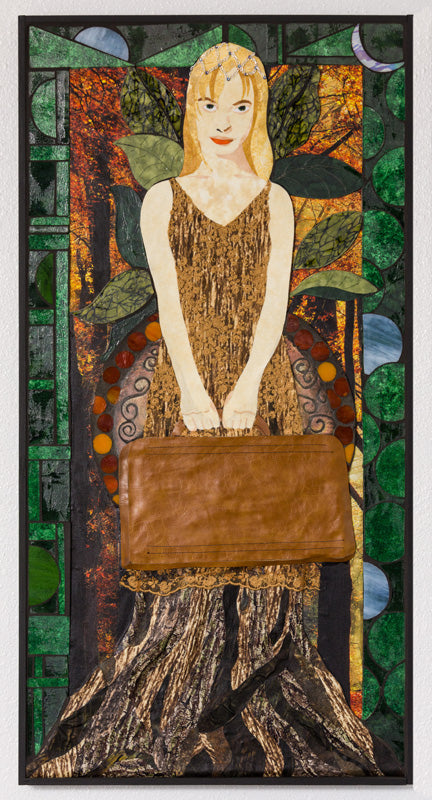 "SOLD ""Hejira"", mixed media on birch board, 36.5"" x 18.5"", framed"
