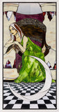 """High Priestess"", stained glass mosaic, 49"" x 25"", framed"