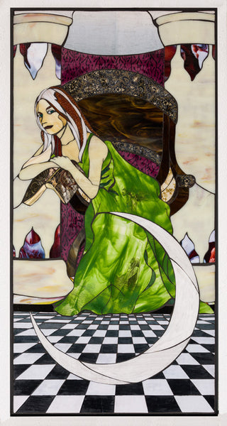 """High Priestess"", stained glass and textile mosaic, 49"" x 25"", framed"