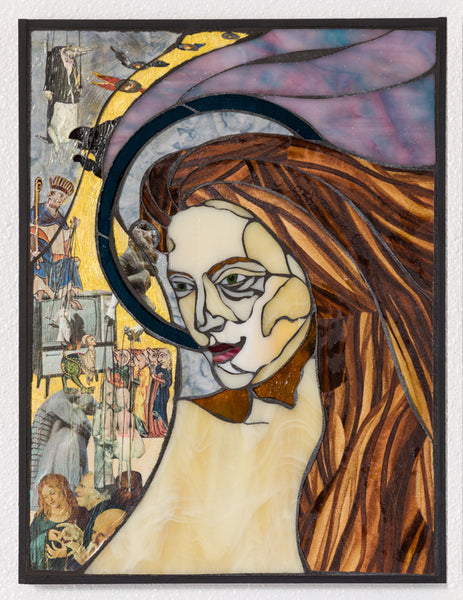 "SOLD ""Bewitched"", stained glass, textile and mixed media mosaic on wood board, framed, 12.5"" x 16.5"""