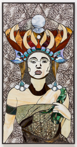 "SOLD ""Sophia from Ophir"", stained glass and textile mosaic, 24"" x 48"", framed"