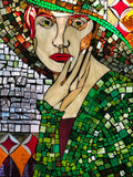 """Ilsa"", Stained glass mosaic in recycled wood window frame, 33.5"" x 23.75"""