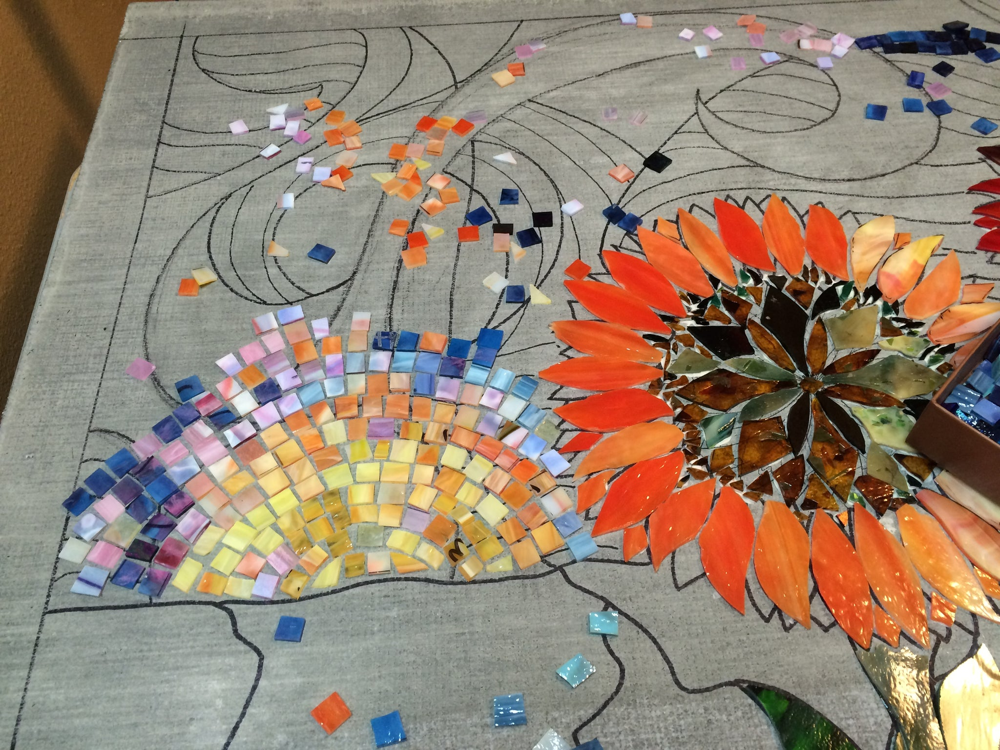 "SOLD ""Sunflowers"", stained glass mosaic, 60"" x 36"""