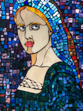 """Maia"" 22"" x 30"" stained glass mosaic in recycled window frame"