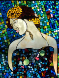 """Ariadne"", stained glass mosaic in recycled window frame, 25.75"" x 22"""