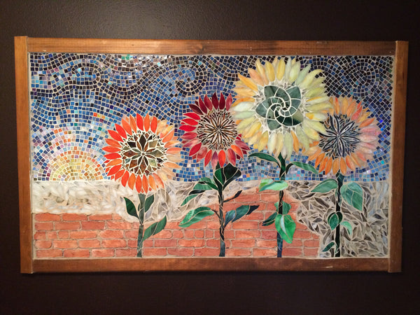 "Sunflowers, stained glass mosaic, 60"" x 36"""