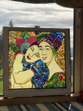 """Soul & Science"", stained glass mosaic in recycled wood window frame, 28"" x 28"""