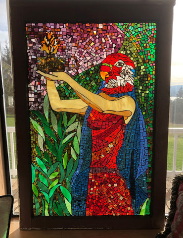 "Language of the Birds, stained glass mosaic in recycled wood window frame, hanging, 28""X35.25"""