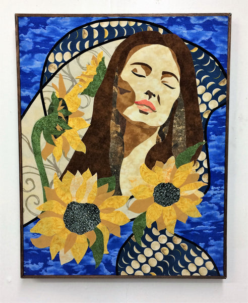 "SOLD ""July"", textile collage on birch board, 15.5"" x 19.5"", framed"