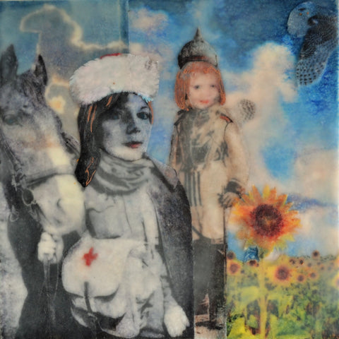 "SOLD ""Pick the Weeds, but Don't Forget to Water the Flowers"", mixed media encaustic on canvas, 8"" x 8"""