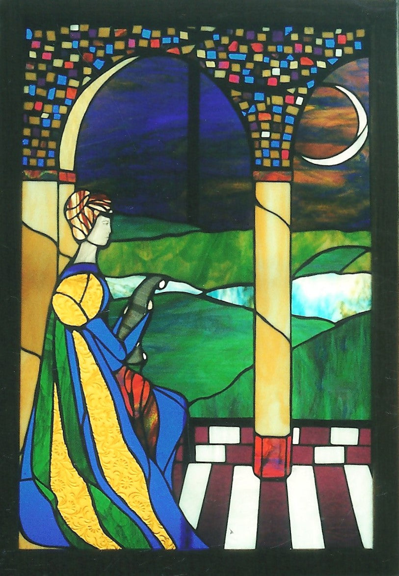 "Sold, ""Lady in Waiting"" mixed media stained glass panel"