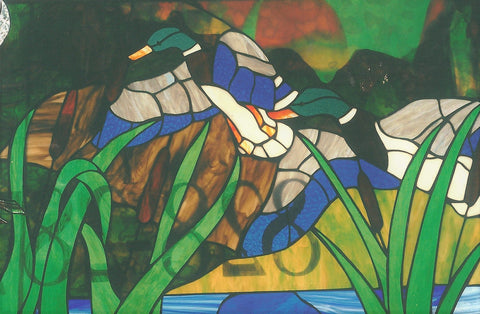 Sold, Duck Wildlife Stained Glass Window, Custom Work