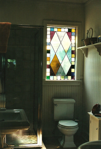 Sold, Bathroom Leaded Stained Glass Window, Custom work
