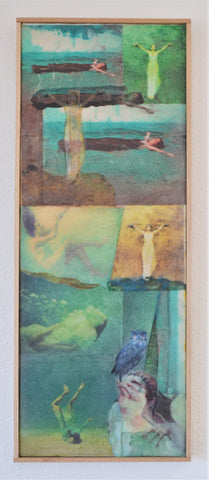 "FREE SHIPPING ""Trust"", mixed media encaustic on wood panel, 20.5"" x 8.5"""