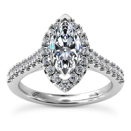 Diamond Engagement Ring Marquise Halo Design Front View