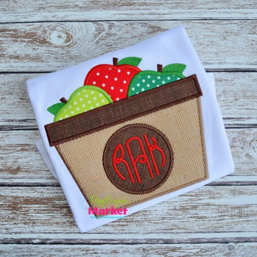 Custom Apple Basket Applique Design