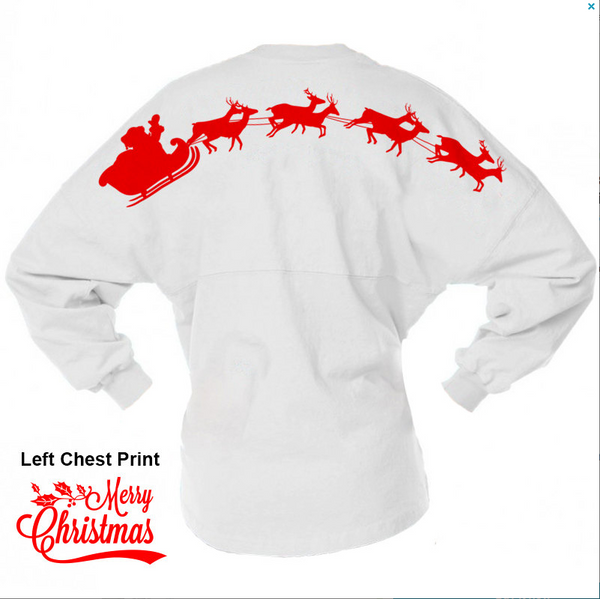 Santa & His Reindeer Over Sized Spirit Jersey