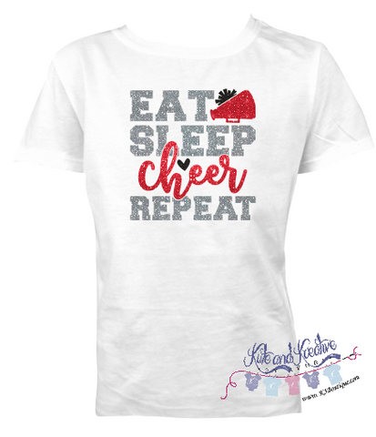 Eat Sleep Cheer Repeat Tee