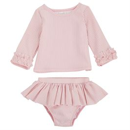Mud Pie Pink Seersucker Rash Guard Swim Set