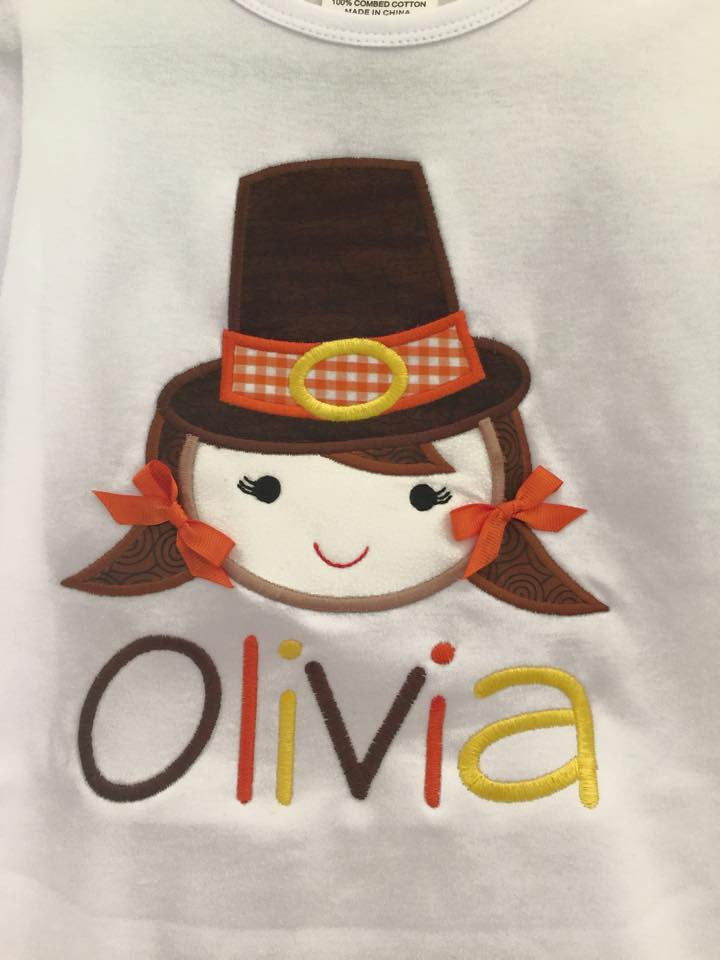 Custom Pilgrim Girl Applique Design