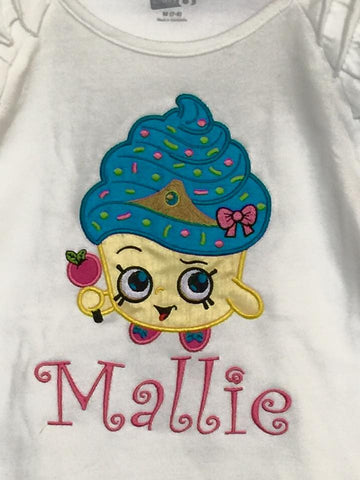 Custom Cupcake Shopkins Applique Design