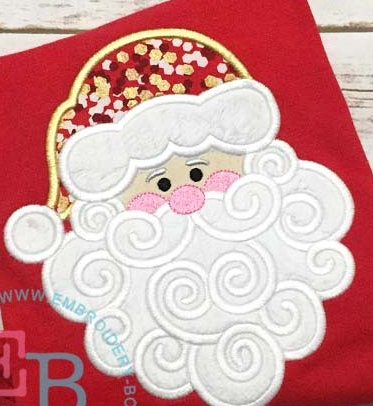 Custom Swirl Santa Applique Design