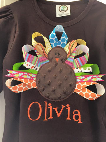 Custom Ribbon Turkey Applique Design