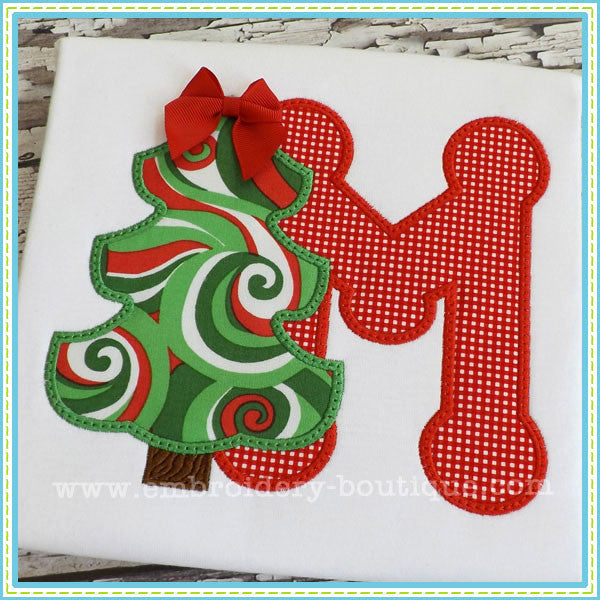 Custom Christmas Tree Alpha Applique Design