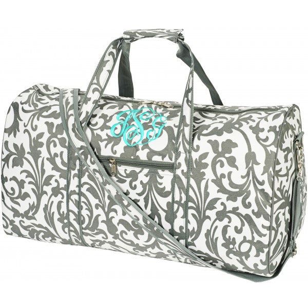 Grey Floral Duffle Bag