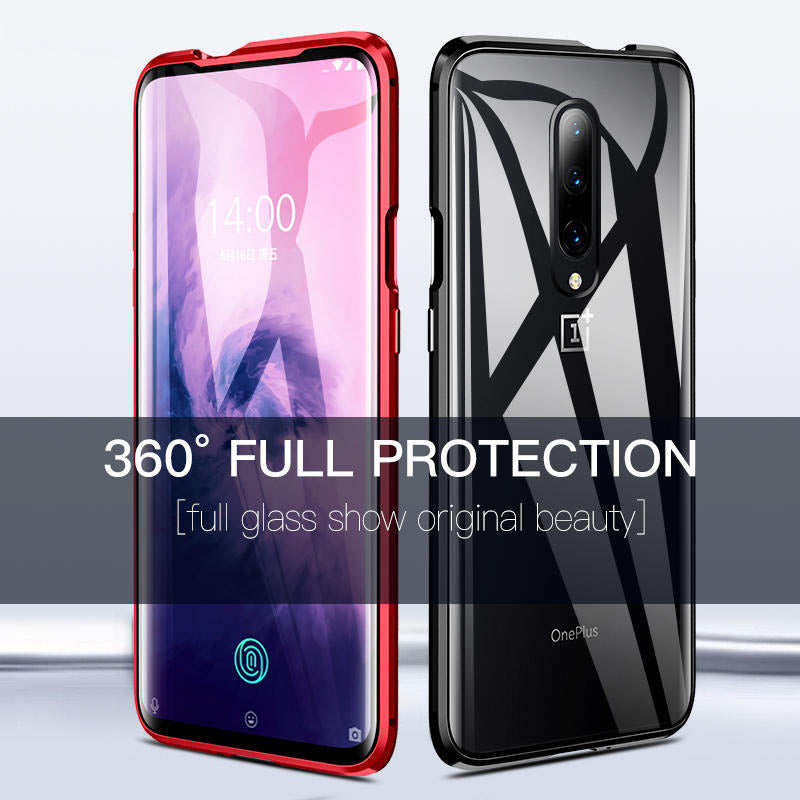 Luxury Magnetic Full Tempered Glass Case For Oneplus 6/ 6T/ 7/ 7 Pro